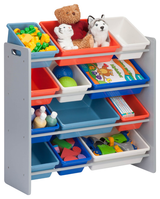 Kids Toy Organizer And Storage Bins, Gray, 12 Bins Toy Organizers