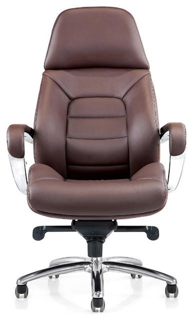 Gates Genuine Leather Aluminum Base Chair Dark Brown