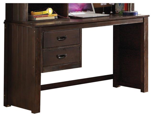 Hector Desk, Antique Charcoal Brown - Hector Desk And Hutch, Antique Charcoal - Transitional - Kids Desks
