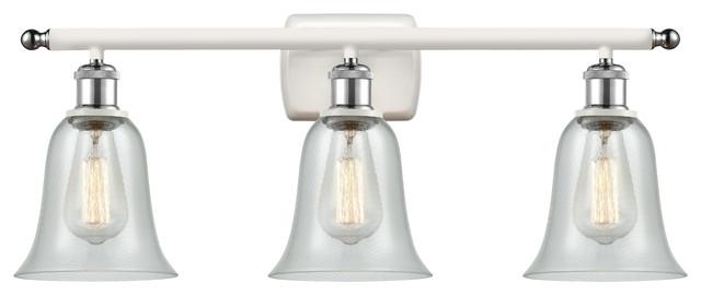 Hanover 3-Light Bath Vanity-Light, White and Polished Chrome, Fishnet