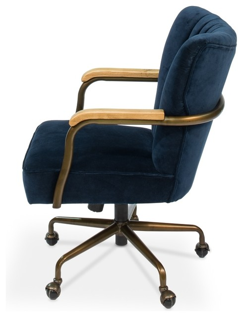 Swivel Chair, Brooks, Navy Blue Velvet.