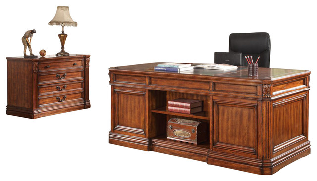Grand Manor Granada Double Pedestal Executive Desk  Vintage Walnut  traditional desks and. Grand Manor Granada Double Pedestal Executive Desk  Vintage Walnut