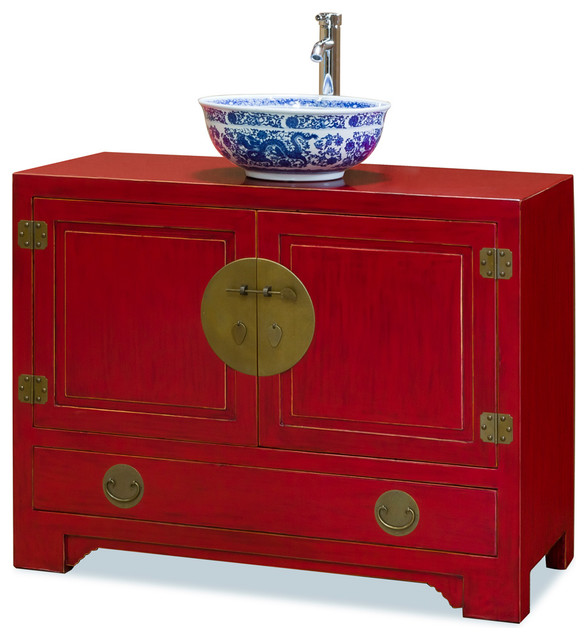 Chinese Ming Style Red Cabinet Asian Bathroom Vanities And Sink Consoles By China Furniture And Arts