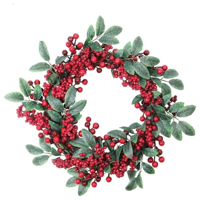 """18"""" Lush Red Berry and Deep Green Leaf Christmas Wreath"""