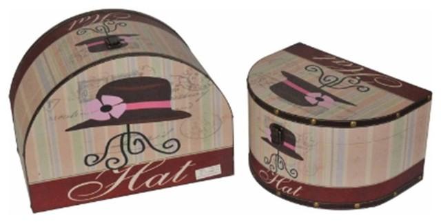 Decorative Hat Storage Boxes Set Of 2 16 19