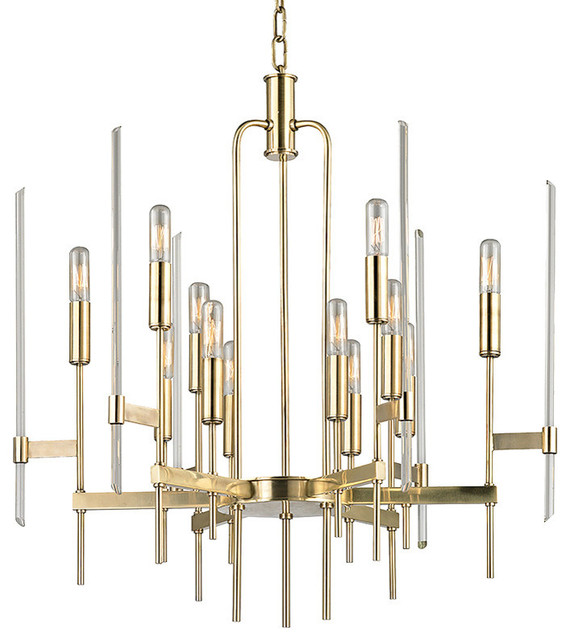 Bari, Twelve Light Chandelier, Aged Brass Finish, Clear Glass