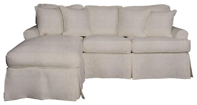Whitman Slip-Covered Sofa And Chaise Set, Light Gray.