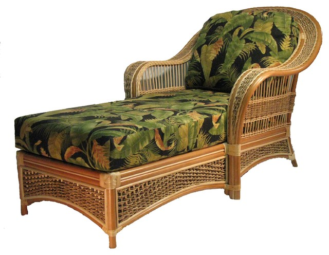 Spice Island Chaise Lounge In Natural, Martindale Stripe Maple Fabric.
