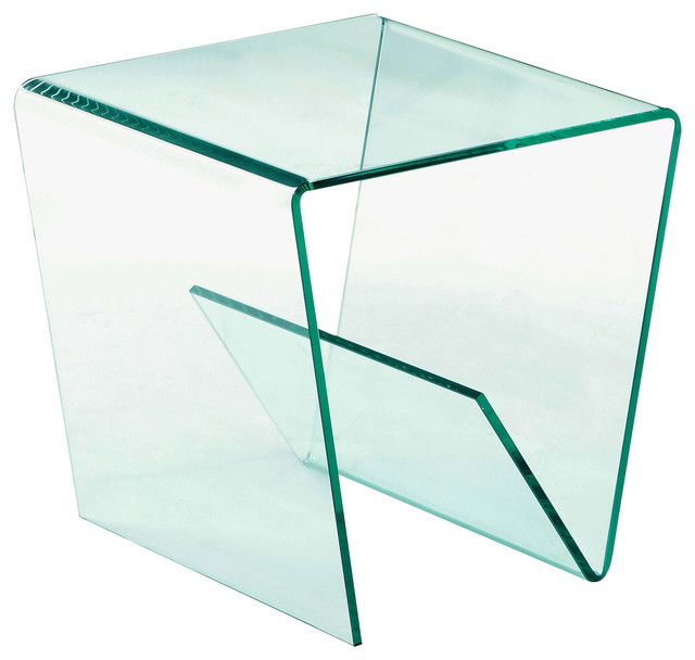 Square Bent Clear Glass Lamp Table.