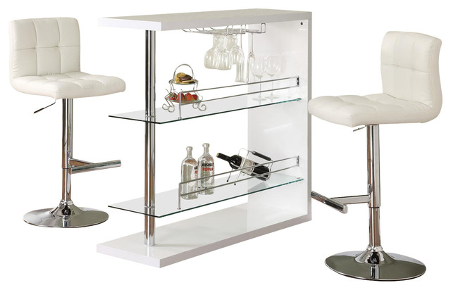 Rectangular Wine Bar Table And Stool Set, 3 Piece Set, White