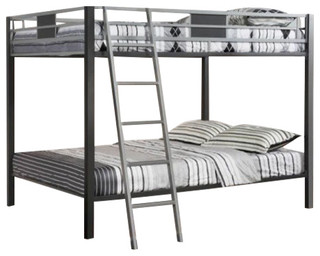 Contemporary Silver and Gun Metal Full Over Full Bunk Bed With Roll Out Trundle - Bunk Beds - by ...