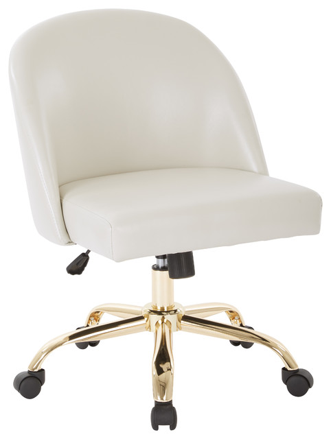 Ave Six Mid Back Office Chair In Cream Pu With Gold Finish Base