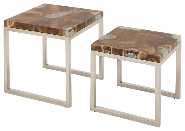 Stainless Steel Teak Nest Tables, Set Of 2 Contemporary Coffee Table Sets