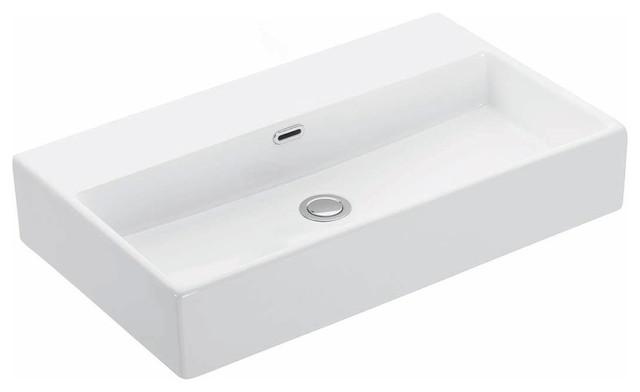 """Ceramic Wall Mounted Bathroom Sink, No Hole, 27.6""""x16.4"""", Quattro 70.00."""