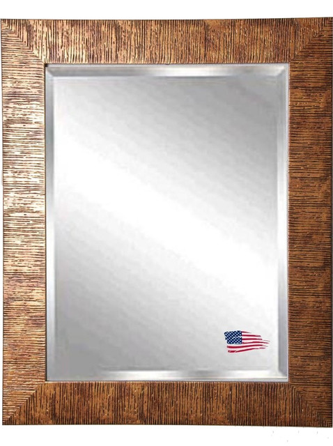 "American Made Safari Bronze Beveled Wall Mirror, 24.5""x30.5""."