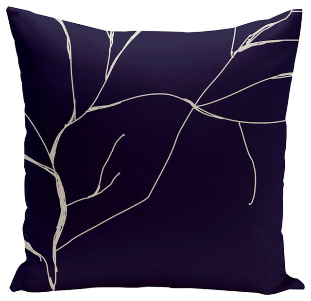 "Navy Blue Polyester Pillow, 18""x18"""