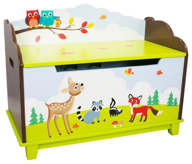 Enchanted Woodland Toy Box Contemporary Kids Storage Benches And Toy