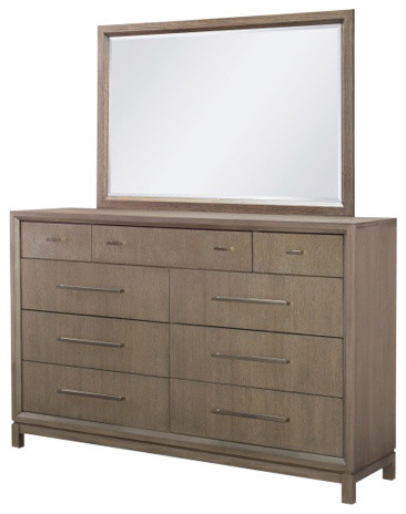 Cortana 9-Drawer Dresser  With Landscape Mirror, Greige.