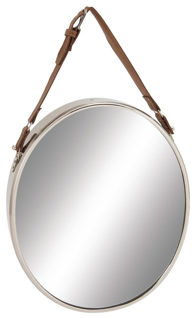 "Stainless Steel Leather Wall Mirror, 14""x25""."