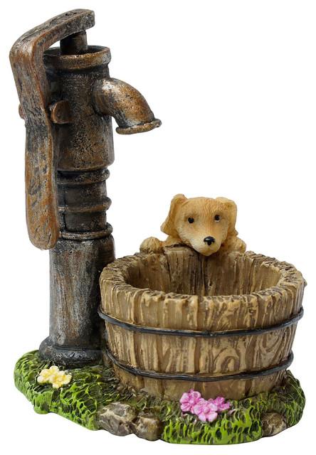 Puppy at the Hand Pump for Miniature Garden, Fairy Garden ...