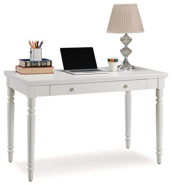 Cottage White Turned Leg Laptop Desk With Center Drawer.