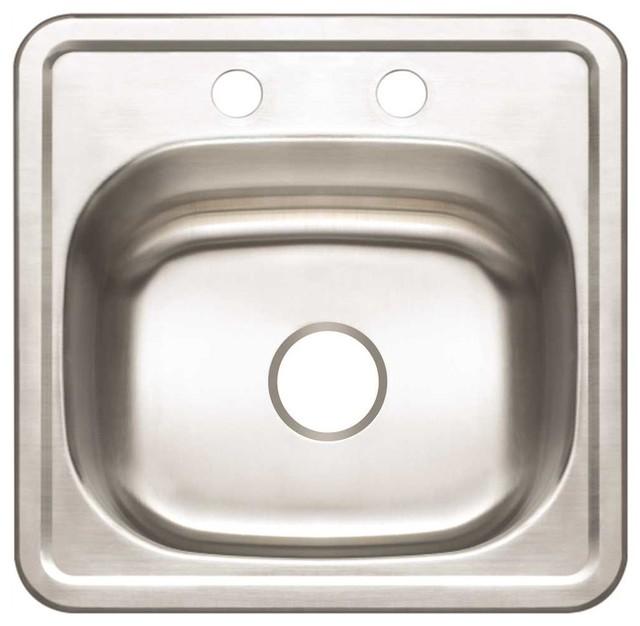 "Premier 2-Hole Bar Sink, 23-Gauge, Stainless Steel, 15""x15""x5-1/8""."