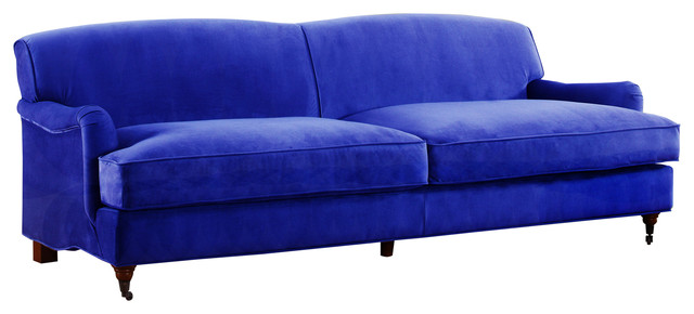 Mid Century Modern Sophisticated Large Brush Microfiber Sofa With Casters,  Blue