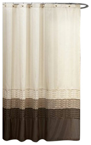 Mia Stripe Shower Curtain 72 X Single Wheat Taupe