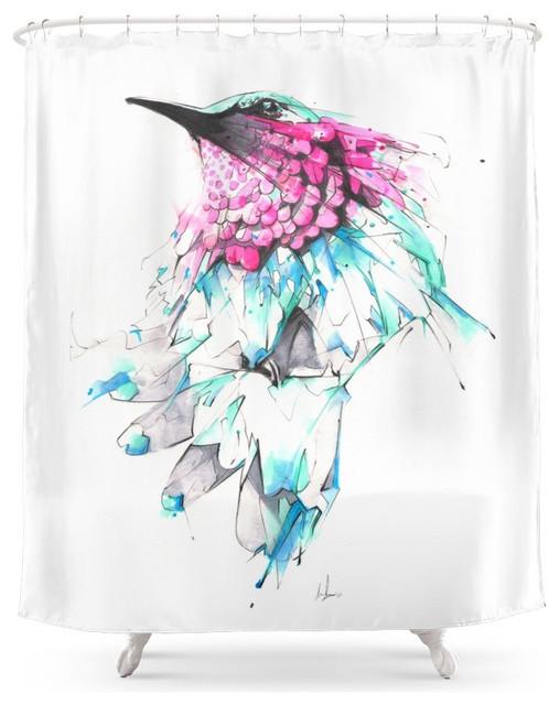 Society6 Hummingbird Shower Curtain Contemporary Shower Curtains