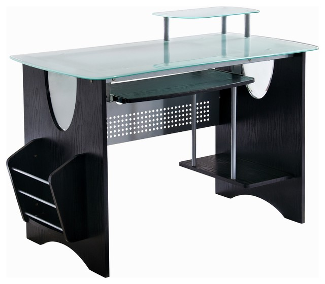 Stylish Frosted Glass Top Computer Desk With Storage Espresso
