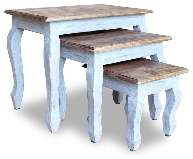 Super Vidaxl Solid Reclaimed Wood Nesting Table Set 3 Piece Side End Coffee Couch Beatyapartments Chair Design Images Beatyapartmentscom