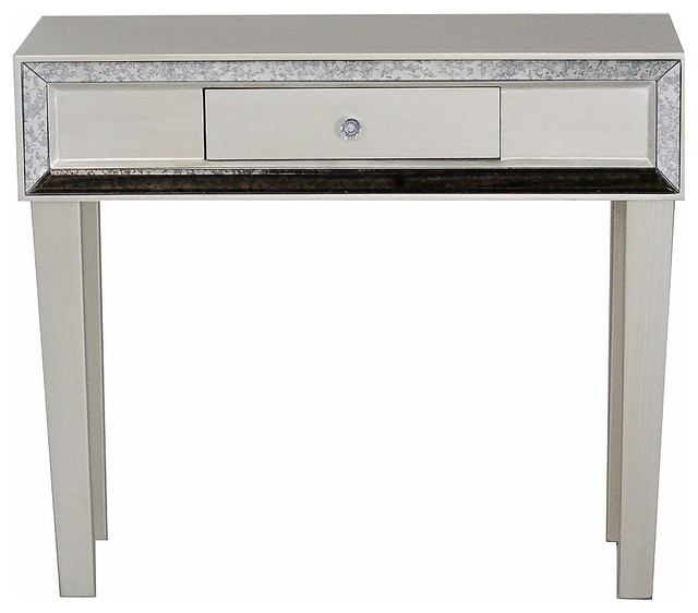 Avery 1-Drawer Console Table With Mirror Accents, Champagne.