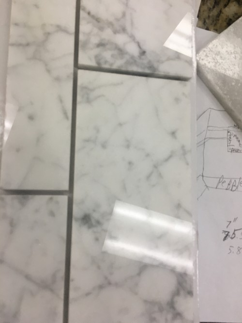 Grout color for white carrera marble tile in shower