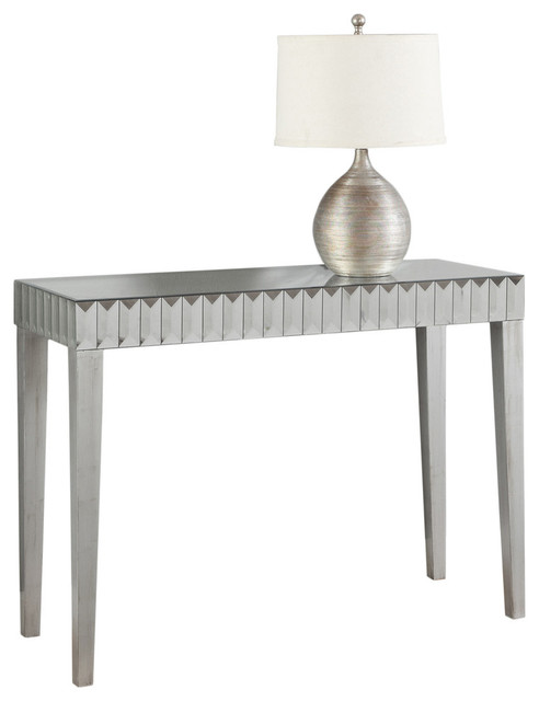 Console Table, Brushed Silver, Mirror.
