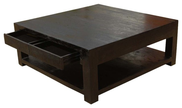 Contemporary Solid Wood Square Espresso Coffee Table