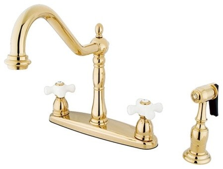 """Heritage 8"""" Center Kitchen Faucet With Brass Sprayer, Polished Brass."""