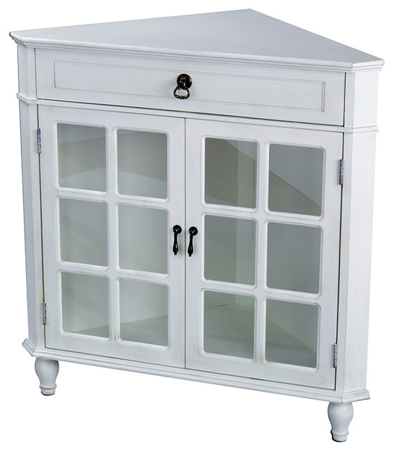 Vivian 1 Drawer 2 Door Corner Cabinet With Paned Glass
