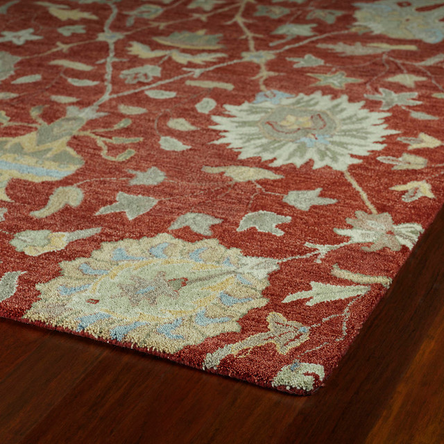 Raya Hand-Tufted Wool Rug, Red, 9&x27;x12&x27;.