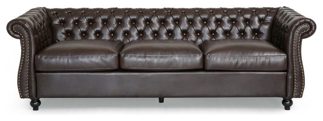 Superbe GDF Studio Vita Chesterfield Tufted Faux Leather Sofa With Scroll Arms,  Brown