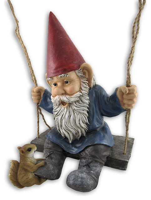 Shop Houzz Zeckos Happy Pastimes Swinging Garden Gnome Statue