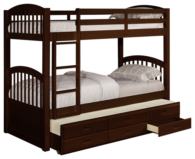 Wood Slatted Bunkbed With Trundle 3, Full Size Bed With Trundle And Storage Drawers