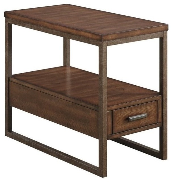 Coaster 1 Drawer End Table Light Brown Industrial Side Tables And End Tables By