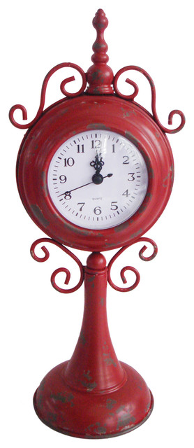 Awesome Home Table Top Decorative Seasonal Gift Red Metal Table Clock Contemporary  Desk And
