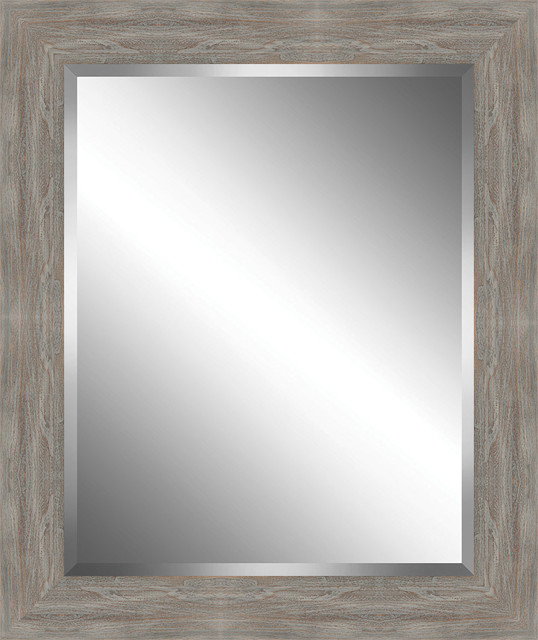 Distressed, Rustic Wood Framed Beveled Plate Glass Mirror
