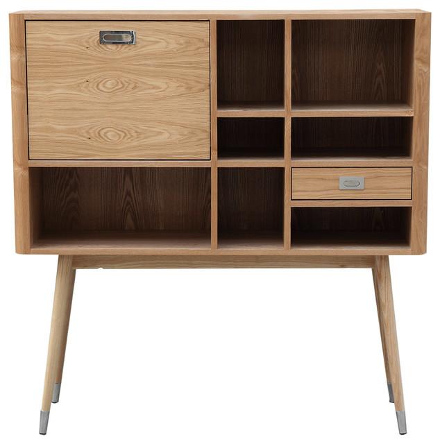 Ebb Modern Wood Upright Credenza Midcentury Sideboard Buffet Ash