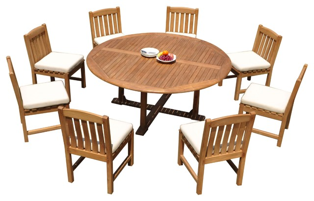 9 Piece Outdoor Patio Teak Dining Set 72 Round Table 8 Devon Armless Chairs