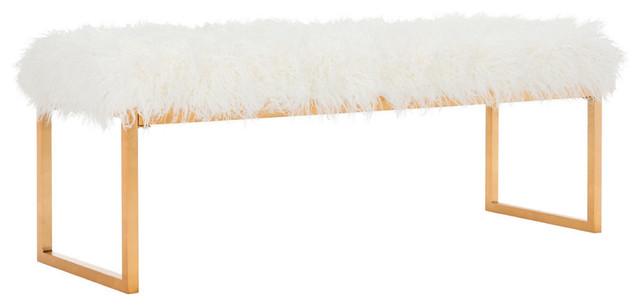 Etta Faux Curly Sheepskin Bench, White.