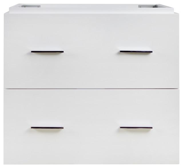 "Xena 23"" Modern Wall Mount Plywood-Veneer Vanity Base Only, White."