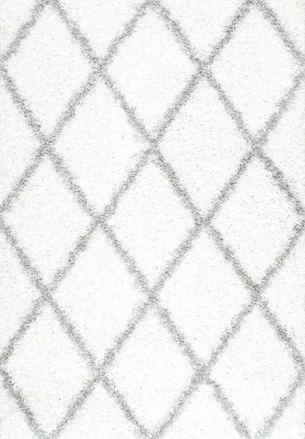 Soft And Plush Diamond Trellis Moroccan Lattice Shag Rug