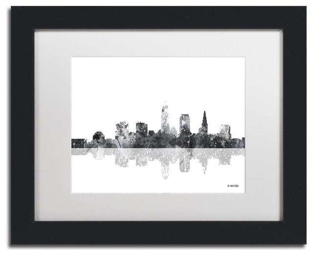 "Watson &x27;cleveland Ohio Skyline Bg-1&x27; Art, Black Frame, 11""x14"", White Matte."
